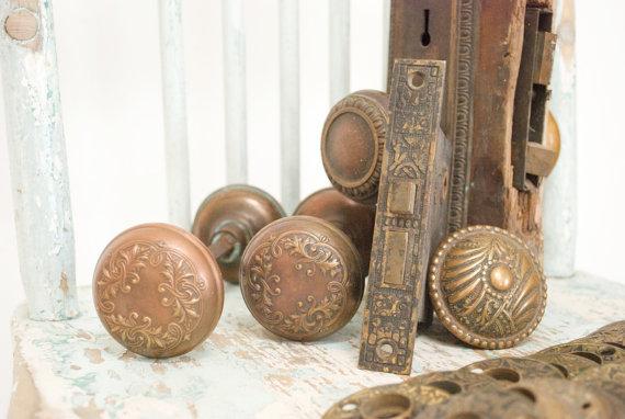 antique copper door knobs photo - 1