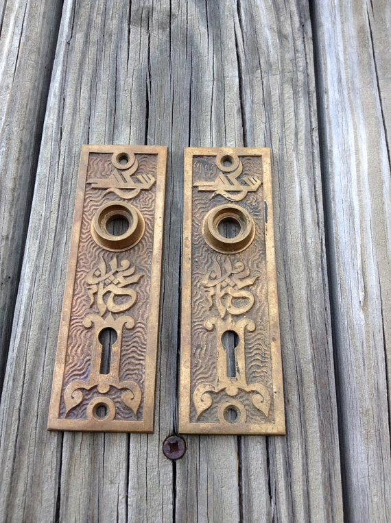 antique door knob plates photo - 4