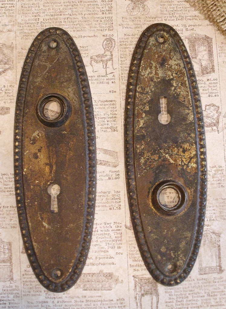 antique door knob plates photo - 6