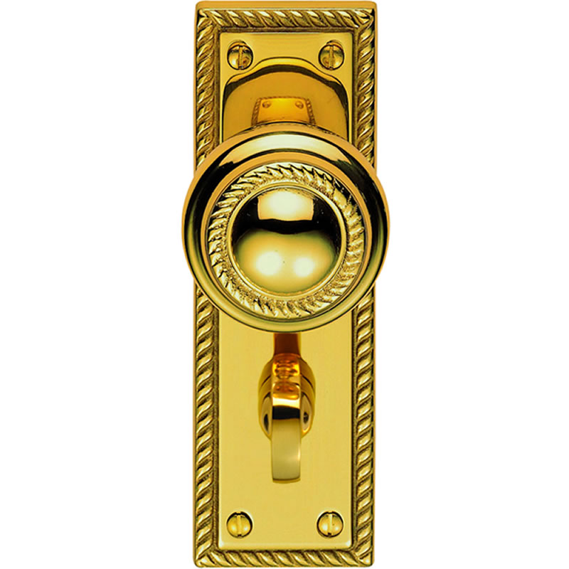 brass door knobs with backplate photo - 7