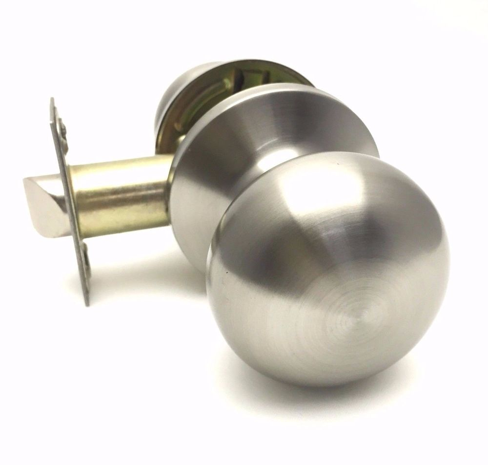 brushed stainless steel door knobs photo - 2