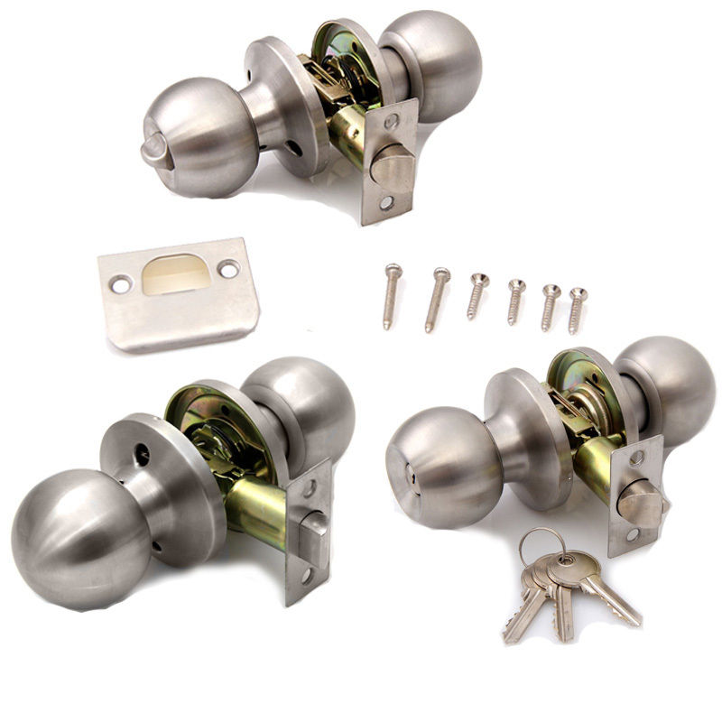 brushed stainless steel door knobs photo - 3