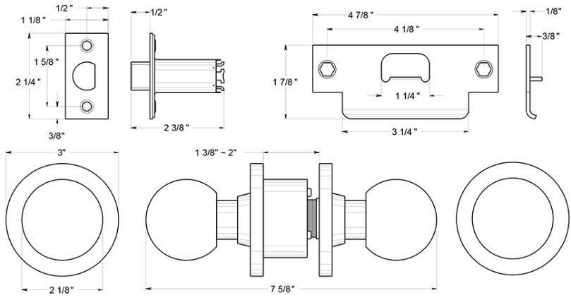 door knob dimensions photo - 8