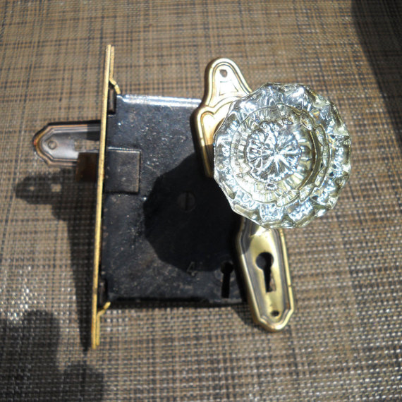 glass door knob with lock photo - 13
