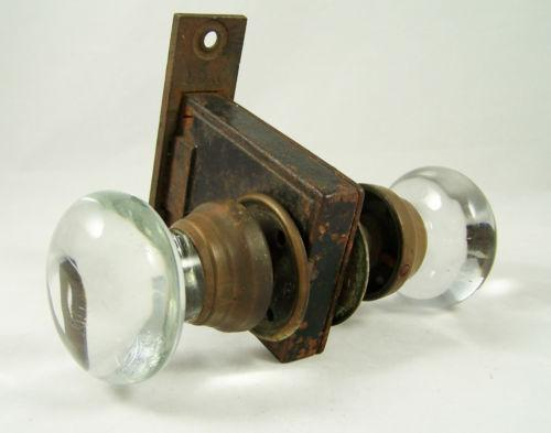 glass door knob with lock photo - 3