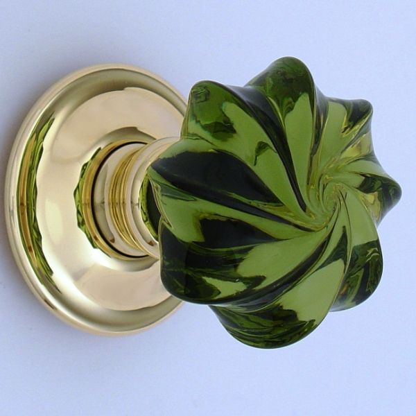 green glass door knob photo - 3