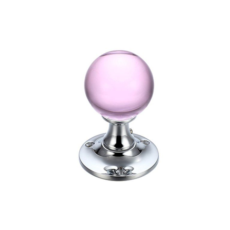 pink glass door knob photo - 5