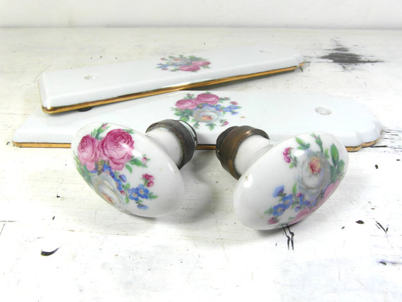 porcelain door knobs floral photo - 18