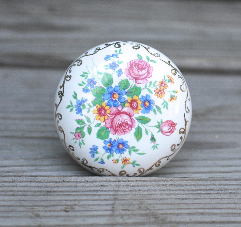 porcelain door knobs floral photo - 2