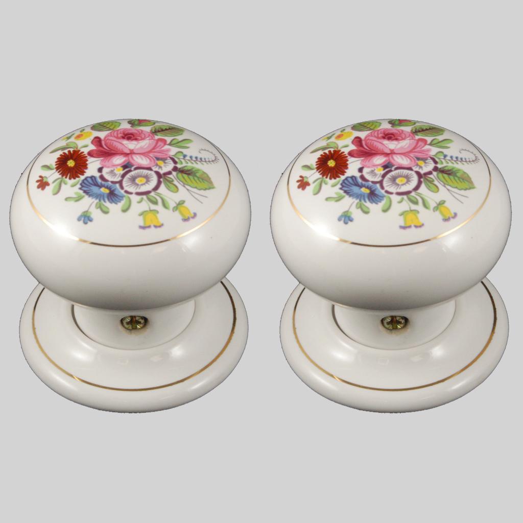 porcelain door knobs floral photo - 3