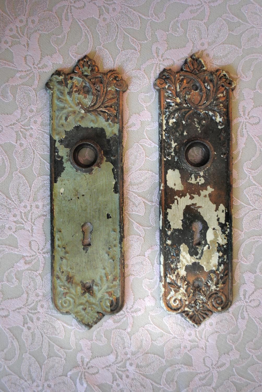 vintage door knob plates photo - 7