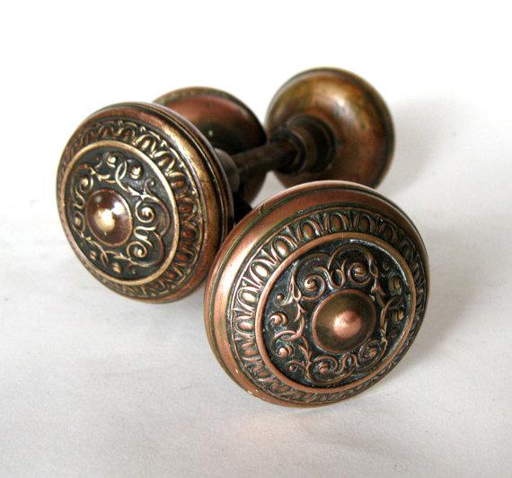 antique copper door knobs photo - 2