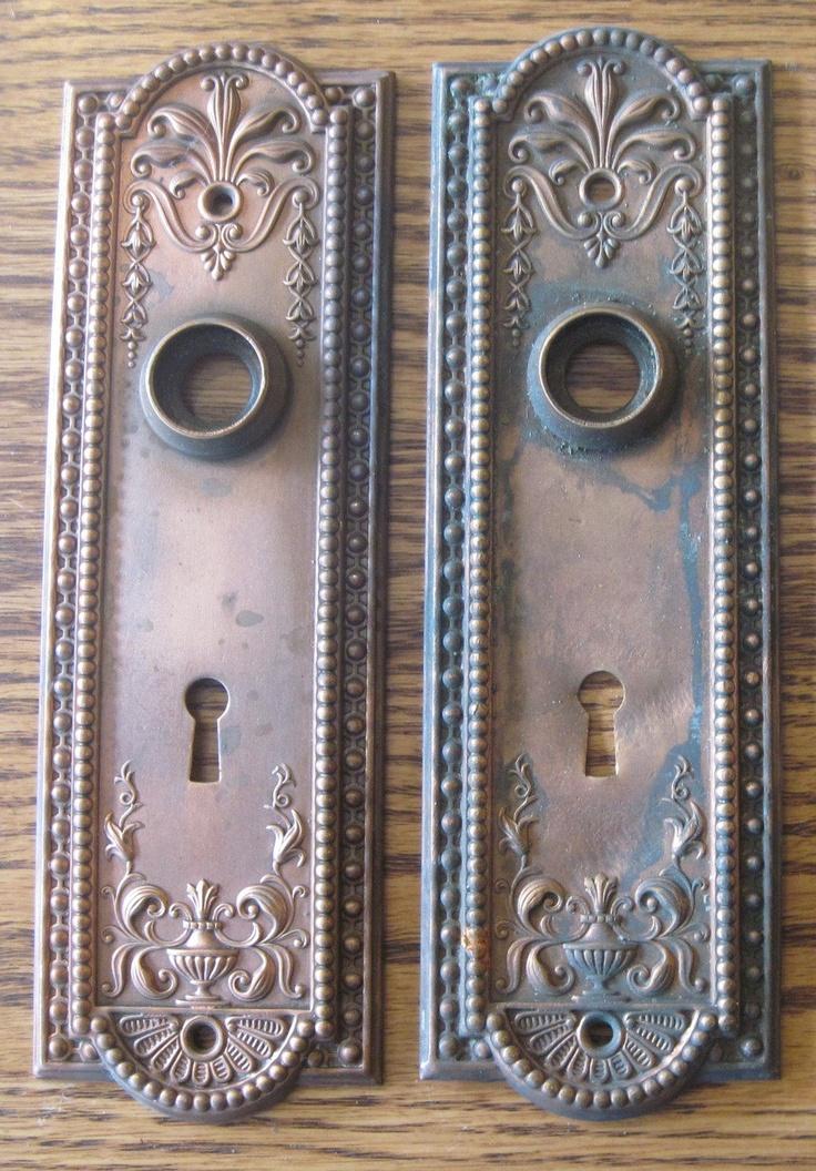 antique door knob plates photo - 2