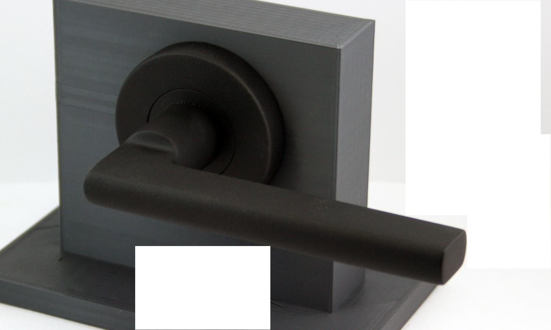 black door knobs and hinges photo - 13