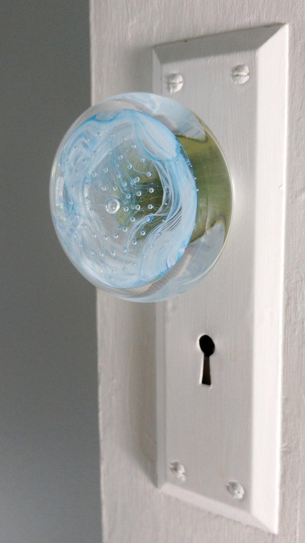blue glass door knob photo - 10