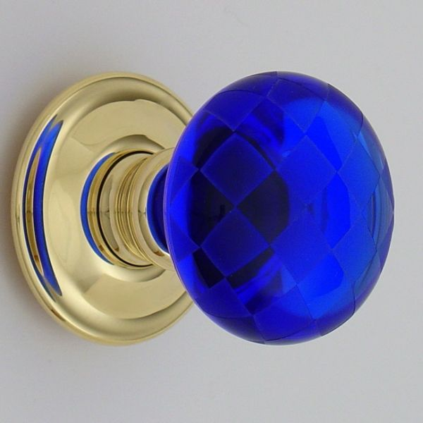 blue glass door knob photo - 11