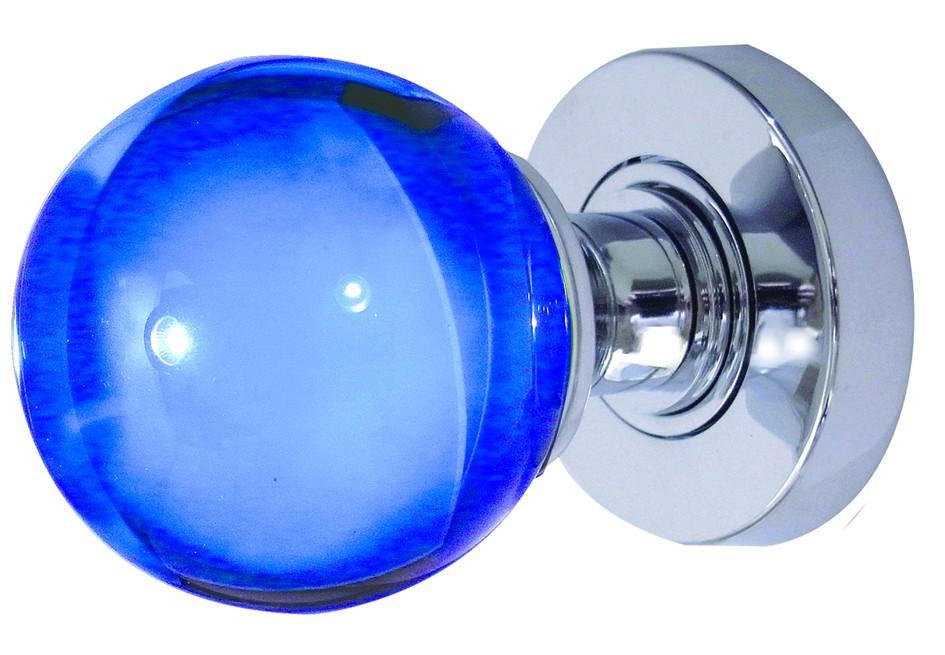 blue glass door knob photo - 12
