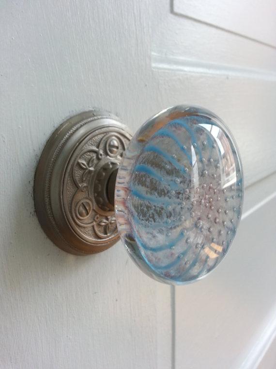 blue glass door knob photo - 8