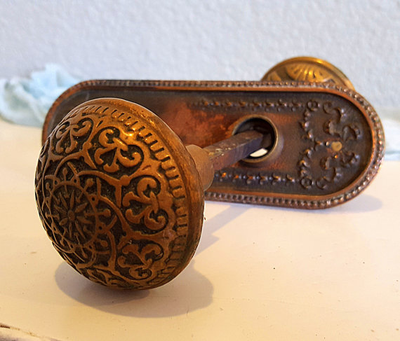 brass door knob plate photo - 11