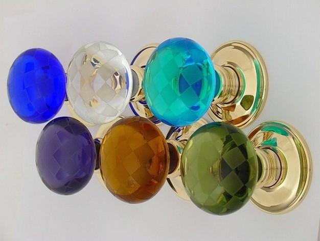 colored glass door knobs photo - 2