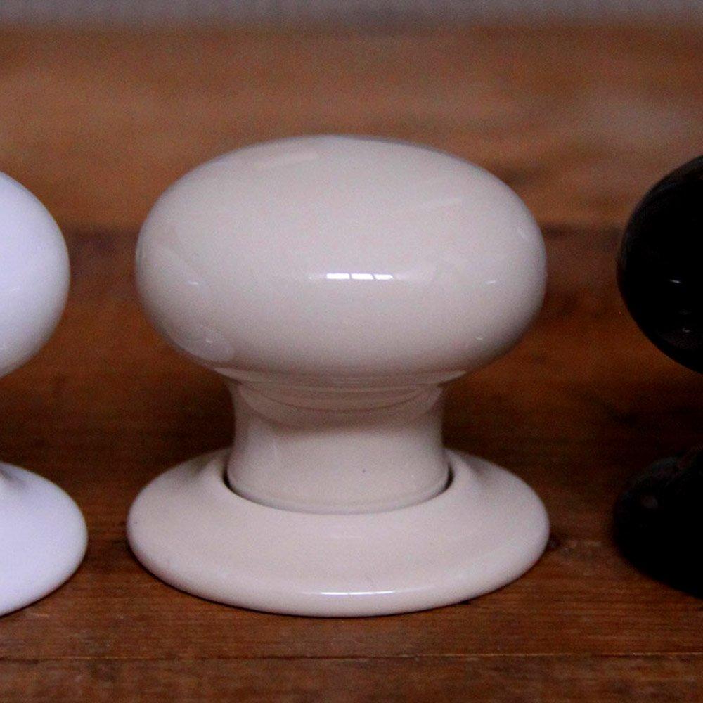 cream ceramic door knobs photo - 2