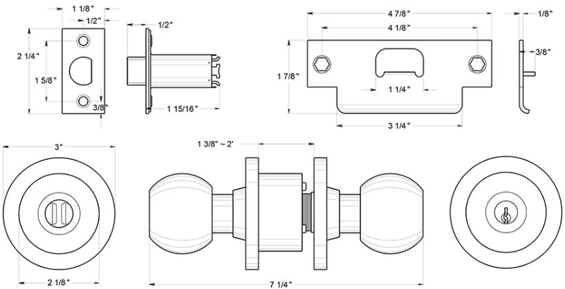 door knob dimensions photo - 7