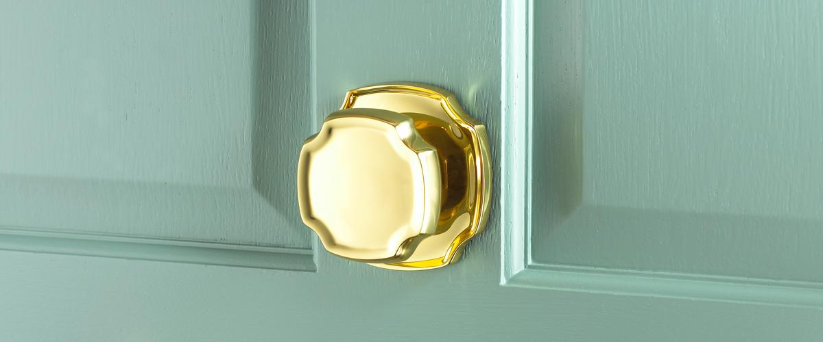 door knob in center of door photo - 13