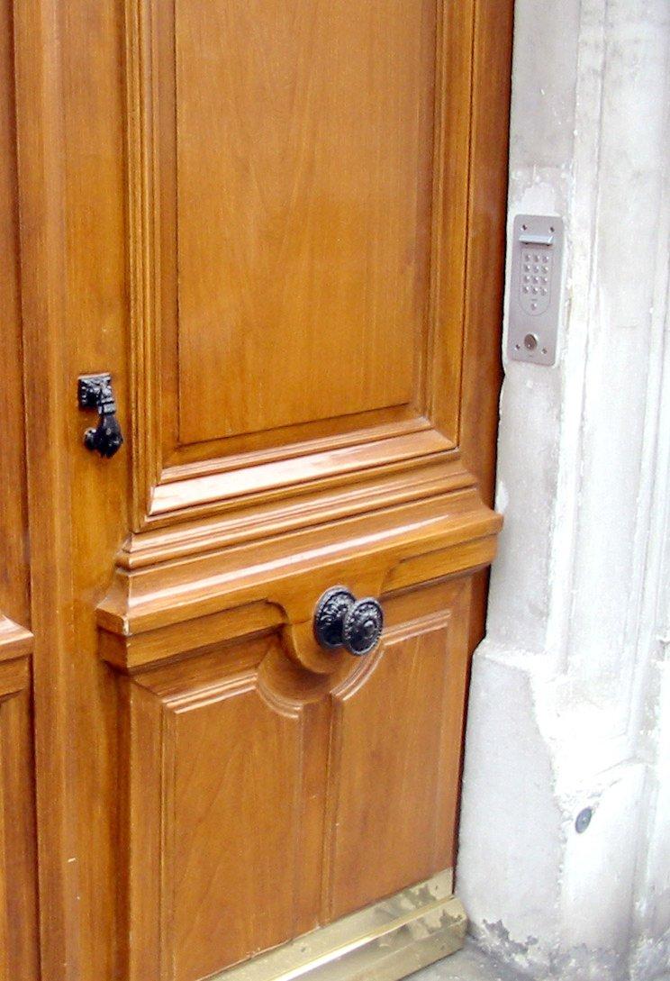 door knob in center of door photo - 14