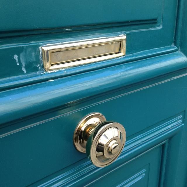 door knob in center of door photo - 6