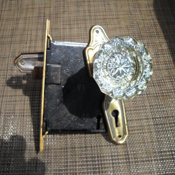 glass door knob with lock photo - 13