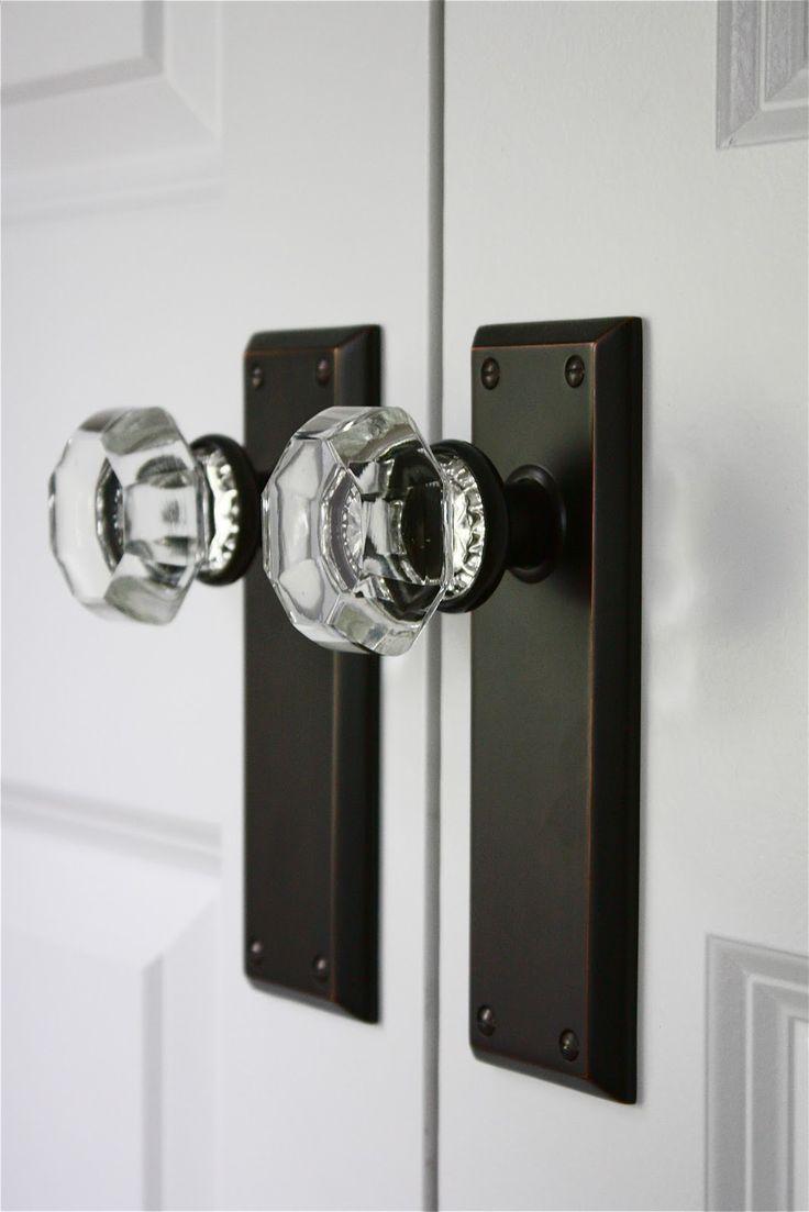 glass door knob with lock photo - 16