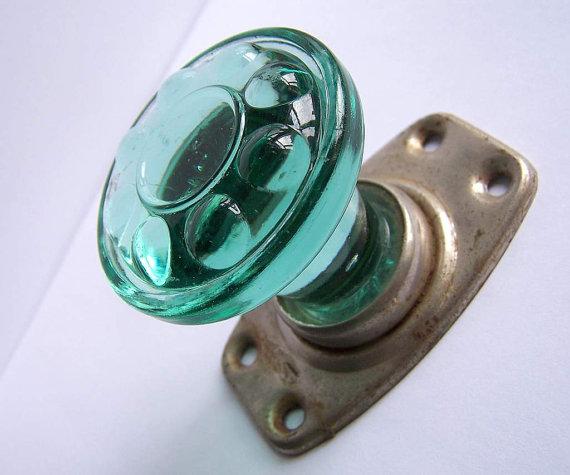 green glass door knob photo - 13