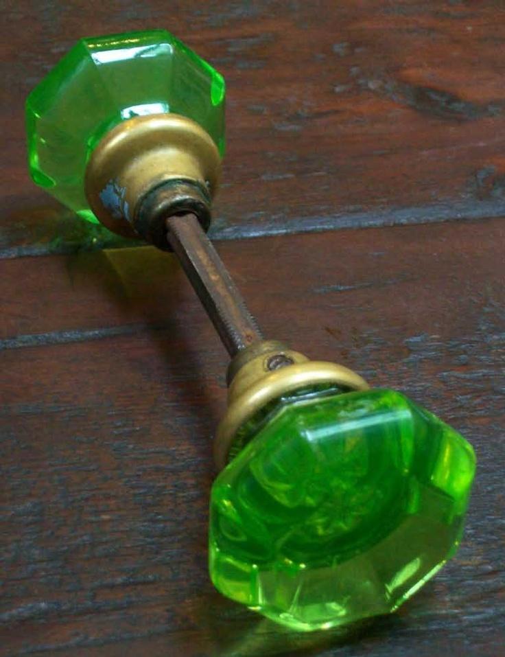 green glass door knobs photo - 11