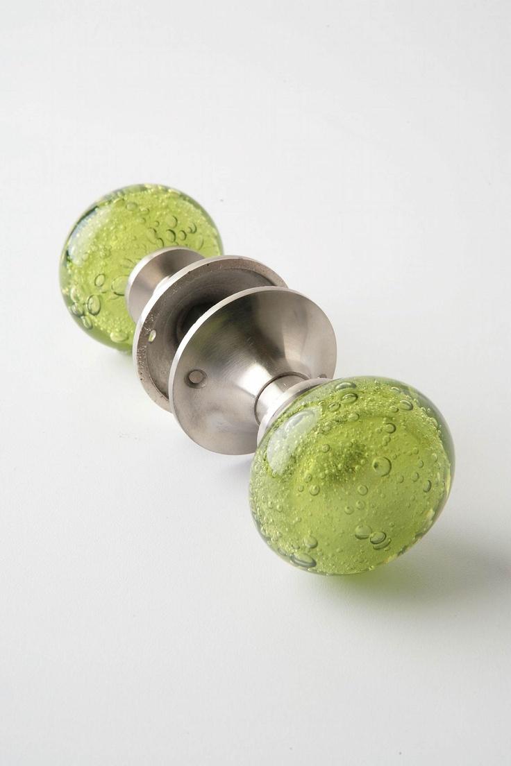 green glass door knobs photo - 3