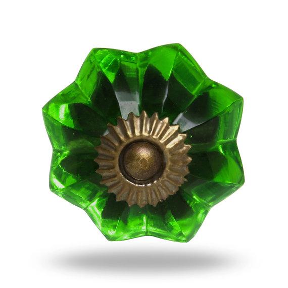 green glass door knobs photo - 8