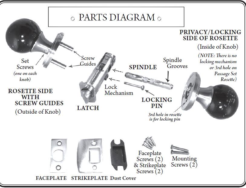parts of a door knob set photo - 3