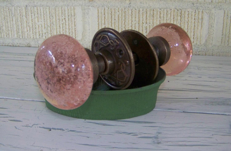 pink glass door knob photo - 2