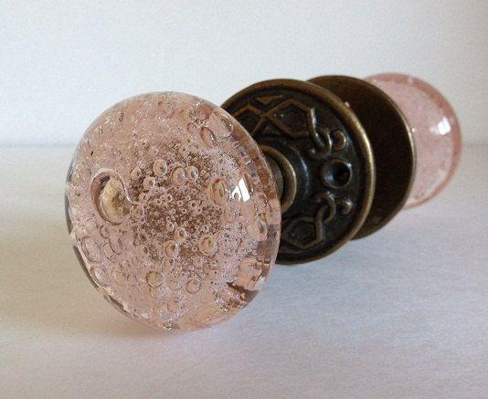 pink glass door knob photo - 9