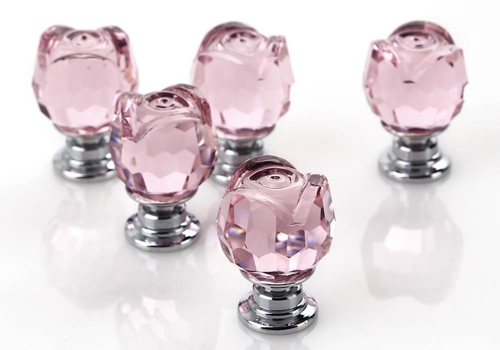 pink glass door knobs photo - 12