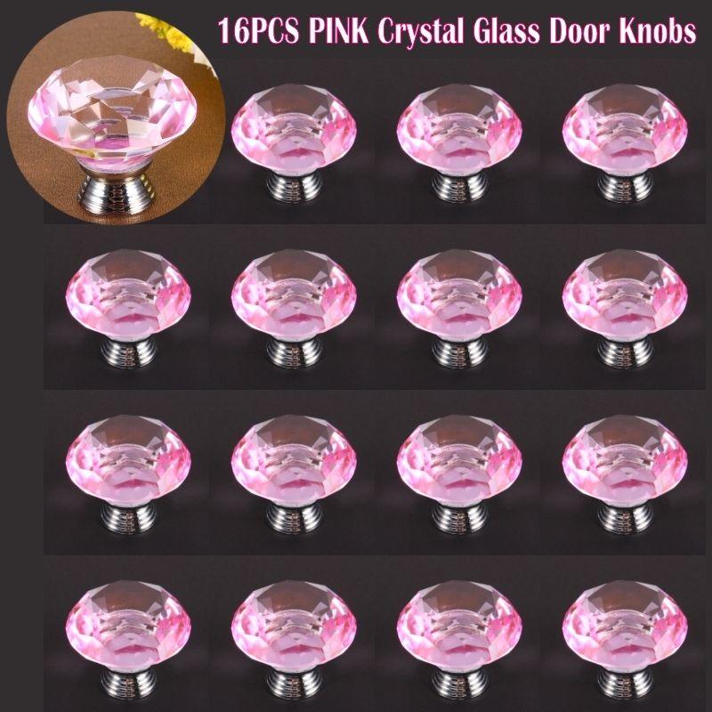 pink glass door knobs photo - 14