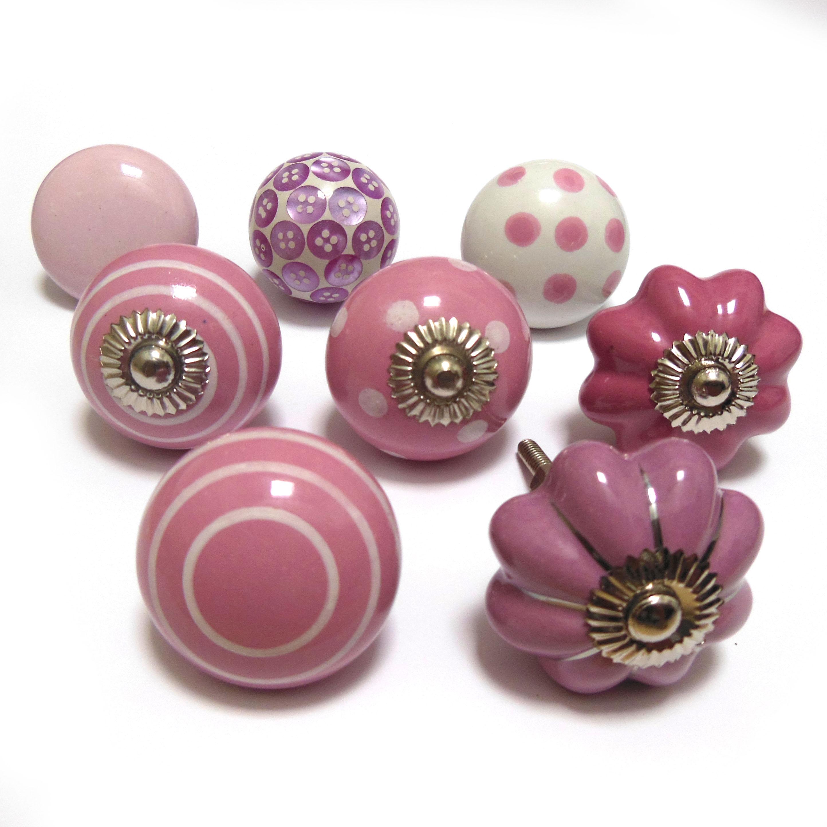 pink glass door knobs photo - 3