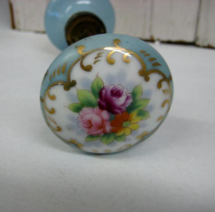 porcelain door knobs floral photo - 12