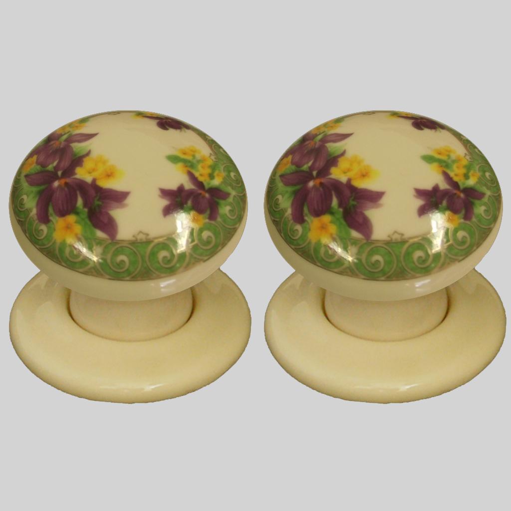 porcelain door knobs floral photo - 13