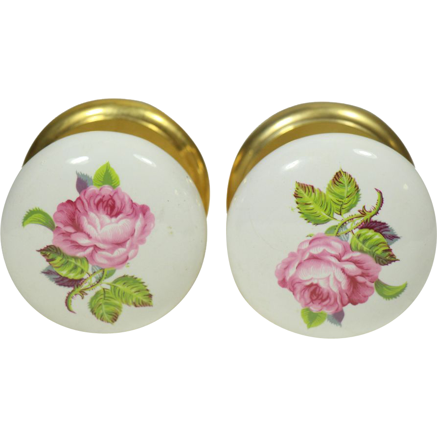 porcelain door knobs floral photo - 16