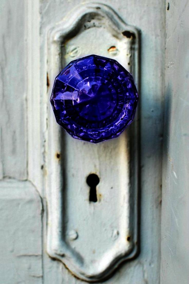 purple glass door knob photo - 15
