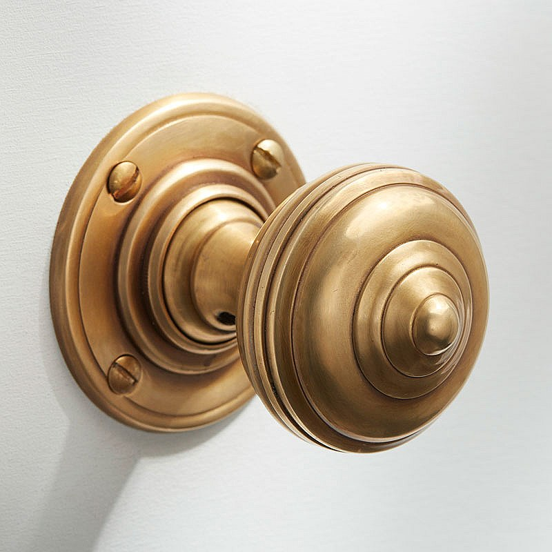 satin brass door knobs photo - 1