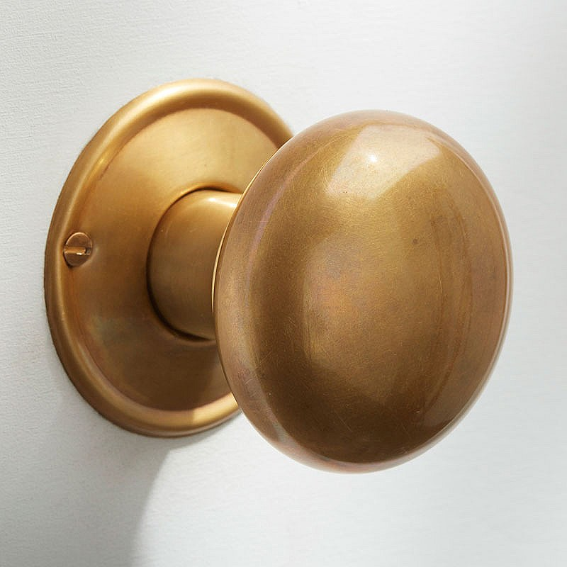 satin brass door knobs photo - 4