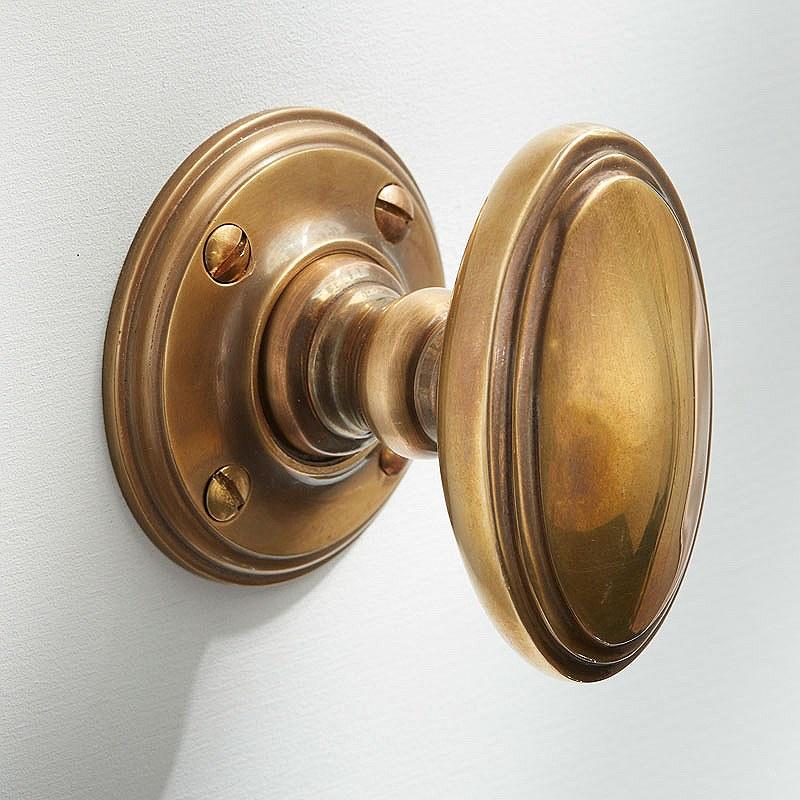 satin brass door knobs photo - 7