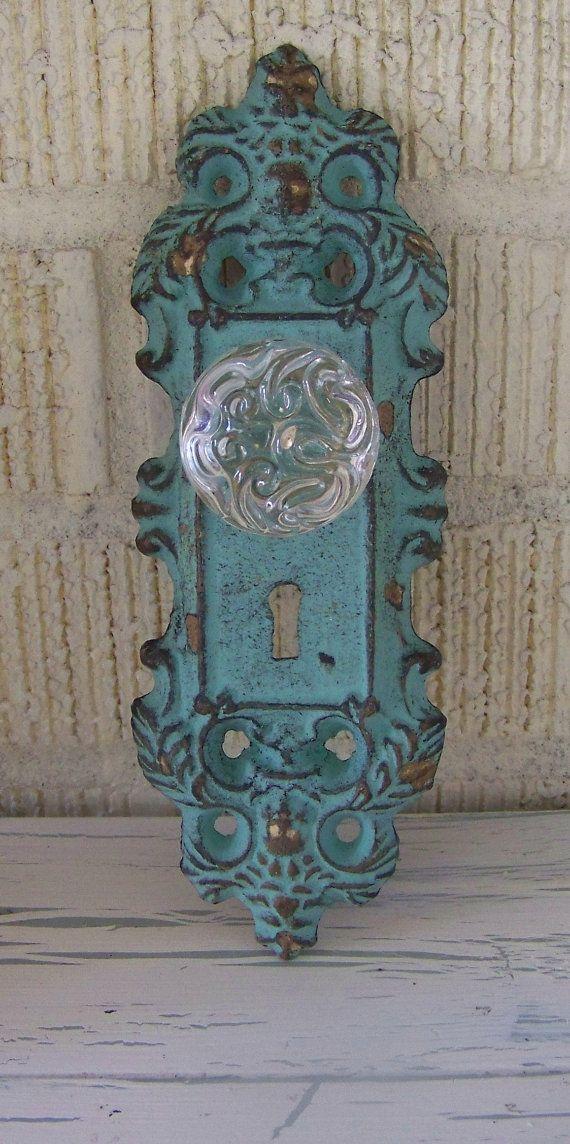 vintage door knob plates photo - 3